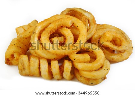 Curly Fries on white background - stock photo