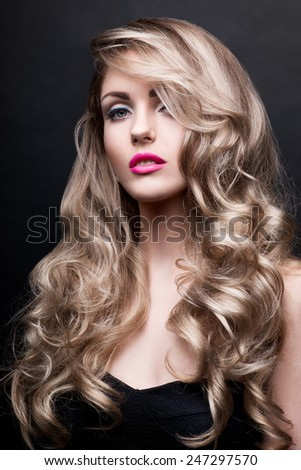 Curly hair woman face beauty portrait - stock photo