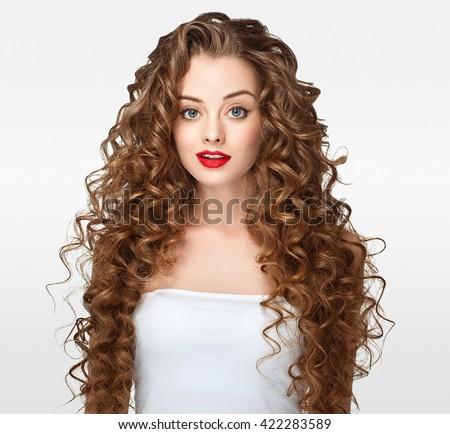 Curly Hair Woman Portrait Long Hair Stock Royalty