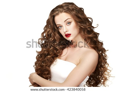 Curly hair woman portrait long hair with perfect make up red lips isolated on white - stock photo