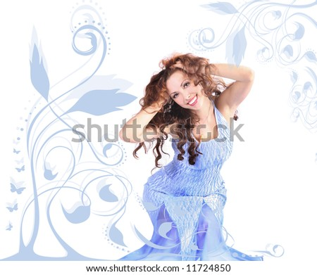 curly-headed girl on floral blue background