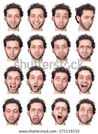 curly long hair and beard adult caucasian man collection set of face expression like happy, sad, angry, surprise, yawn isolated on white - stock photo