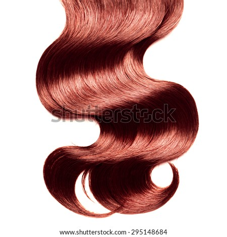 Curly red hair over white - stock photo