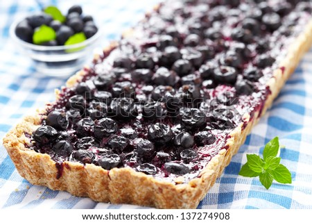 Currant Blueberry Pie with Oatmeal Crust - stock photo