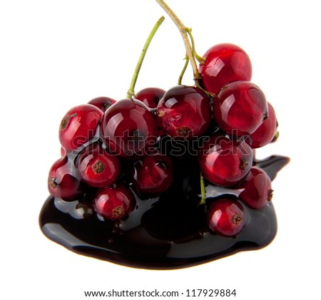 currant in a chocolate on a white background - stock photo