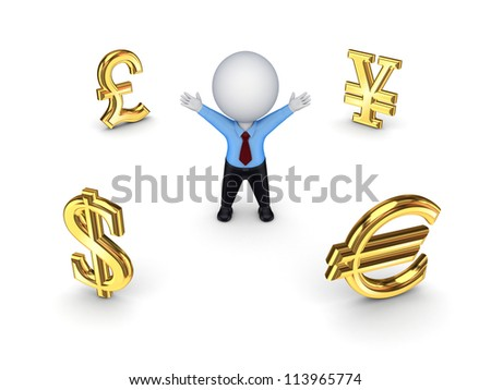 Currencies around happy 3d small person.Isolated on white background.3d rendered.