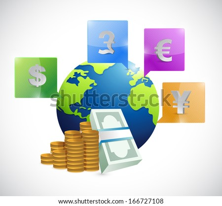 currencies around the globe illustration design over a white background