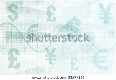 Currencies Collage as a Abstract Tech Background