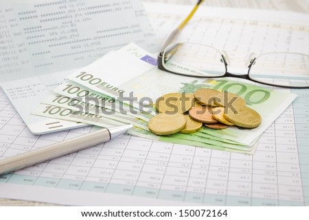 currency and paper money of Euro-zone, saving account and money concept - stock photo