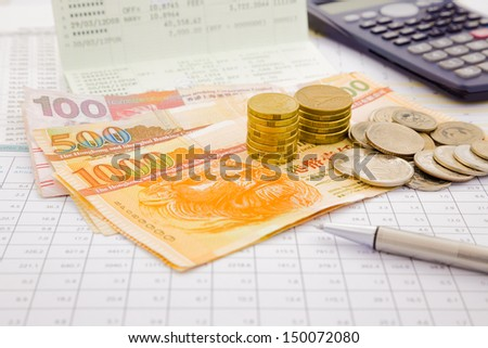 currency and paper money of HongKong, saving account and money concept - stock photo