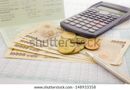 currency and paper money of Japan, saving account and money concept - stock photo