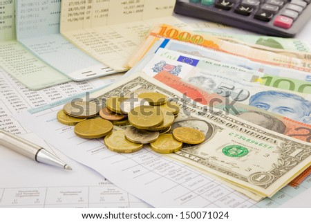 currency and paper money of world, saving account and investment concept