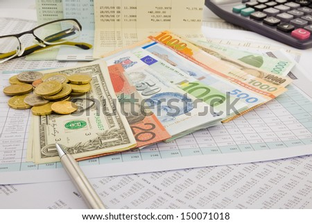 currency and paper money of world, saving account and money concept - stock photo