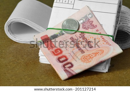 currency and receipts for financial concept  - stock photo