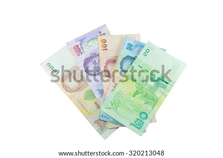 Currency banknotes used in the laws of Thailand.Sort from much Go little, Isolated on white background - stock photo