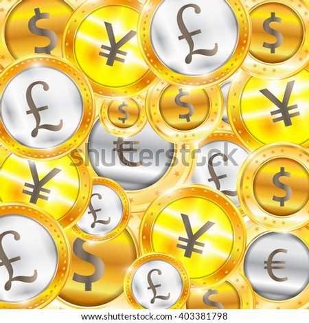 Currency, coins - the dollar - the euro - Pound - Yen. Illustration - stock photo