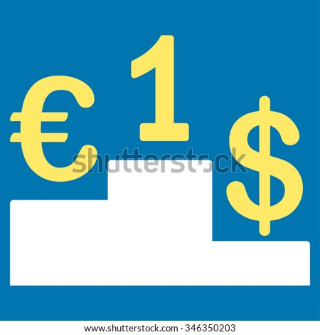 Currency Competition glyph icon. Style is bicolor flat symbol, yellow and white colors, rounded angles, blue background.