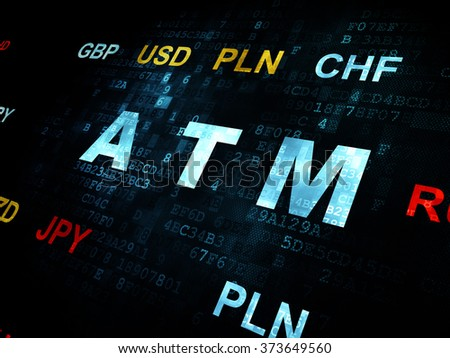 Currency concept: ATM on Digital background - stock photo