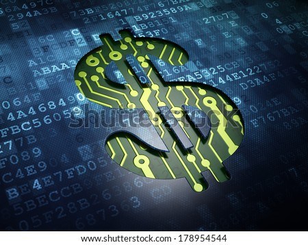Currency concept: digital screen with icon Dollar, 3d render - stock photo