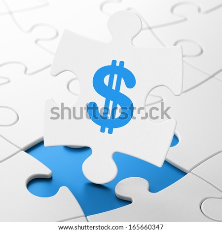 Currency concept: Dollar on White puzzle pieces background, 3d render