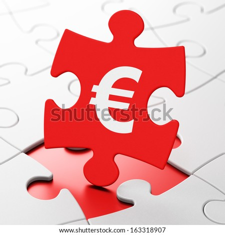 Currency concept: Euro on Red puzzle pieces background, 3d render