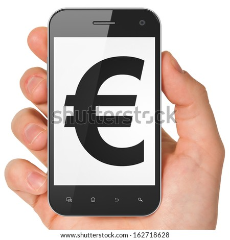 Currency concept: hand holding smartphone with Euro on display. Mobile smart phone on White background, 3d render - stock photo