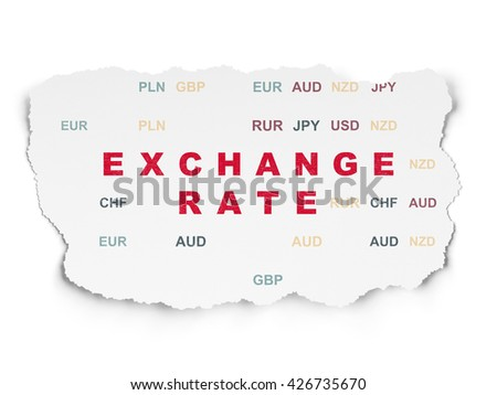 Currency concept: Painted red text Exchange Rate on Torn Paper background with  Currency