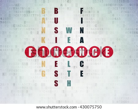 Currency concept: Painted red word Finance in solving Crossword Puzzle on Digital Data Paper background - stock photo
