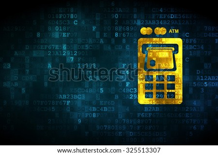 Currency concept: pixelated ATM Machine icon on digital background, empty copyspace for card, text, advertising