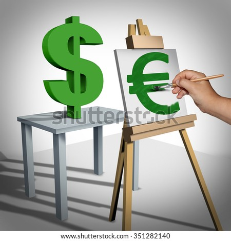 Currency conversion and money exchange financial business concept as a three dimensional dollar sign being painted on a canvas as a euro value rating  icon and a finance symbol for monetary trading. - stock photo