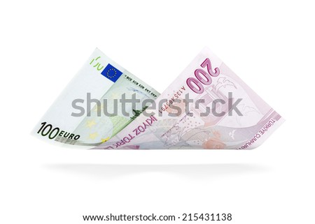 Currency Conversion, one hundred Euro to the two hundred Turkish Lira  - stock photo