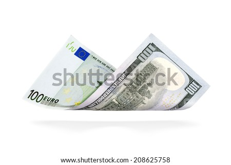 Currency Conversion, one hundred Euro to the U.S. one hundred dollar - stock photo