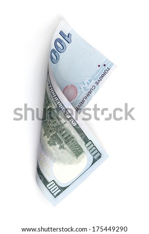 Currency Conversion, Turkish one hundred lira to the U.S. one hundred dollar - stock photo