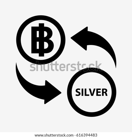 Currency Convert Icon Thb Silver Isolated Stock Illustration