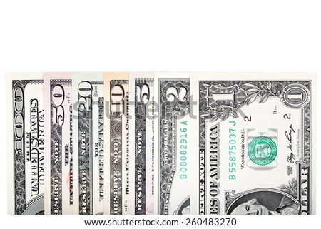 Currency dollar bond each, $ 100, $ 50, $ 20, $ 10, $ 5, $2 and $ 1. - stock photo