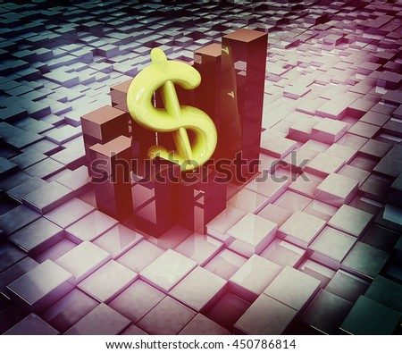 Currency dollar business graph on abstract urban background. 3D illustration. Vintage style. - stock photo