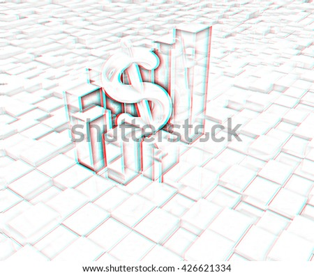 Currency dollar business graph on abstract urban background. Pencil drawing. 3D illustration. Anaglyph. View with red/cyan glasses to see in 3D. - stock photo