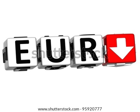 Currency EUR rate concept symbol button on white background - stock photo