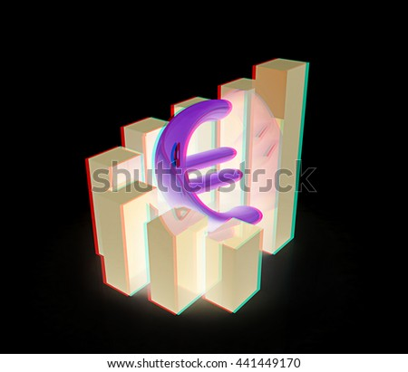 Currency euro business graph. 3D illustration. Anaglyph. View with red/cyan glasses - stock photo