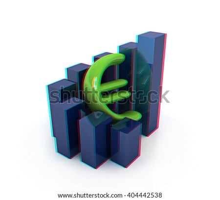 Currency euro business graph on white background. 3D illustration. Anaglyph. View with red/cyan glasses to see in 3D. - stock photo