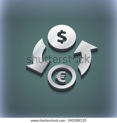Currency exchange icon symbol. 3D style. Trendy, modern design with space for your text illustration. Raster version - stock photo