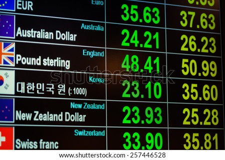 currency exchange on digital LED blackboard, can use as background and financial concept - stock photo
