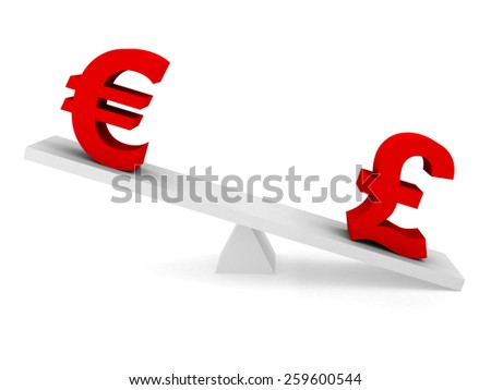 Currency Exchange Rate Concept - Euro above Pound on Balancing Beam - stock photo