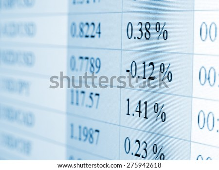 Currency exchange rate for forex market on computer monitor - stock photo