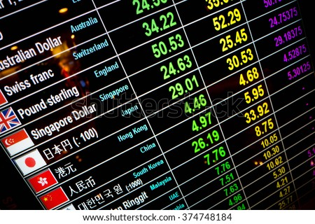 currency exchange rate on digital display board - stock photo
