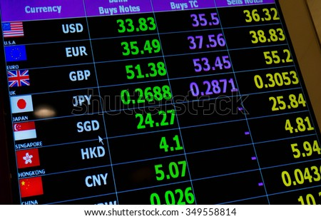 currency exchange rate on digital LED display board - stock photo