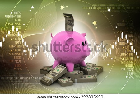 currency falling into a pink piggy bank