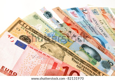 Currency from several different countries - stock photo