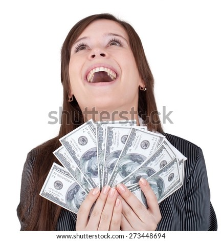 Currency. Glamorous Young Woman Holding Money - stock photo