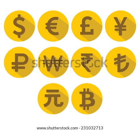 Currency Icons Set. Flat design with long shadow.